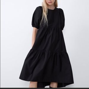 Zara puff sleeve flare dress